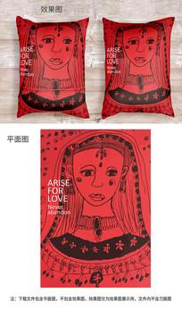 美女卡通抱枕图案