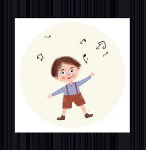 手绘唱歌的男孩卡通形象