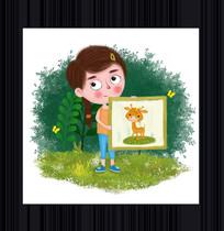 手绘画画的女孩卡通形象