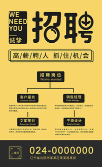 黄色时尚招聘海报设计