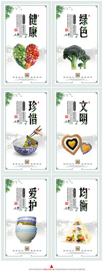绿色健康节约粮食食堂文化展板