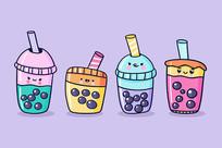 美食奶茶饮料矢量手绘插画
