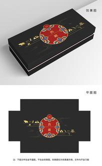 原创高端黑红藏族纹样包装