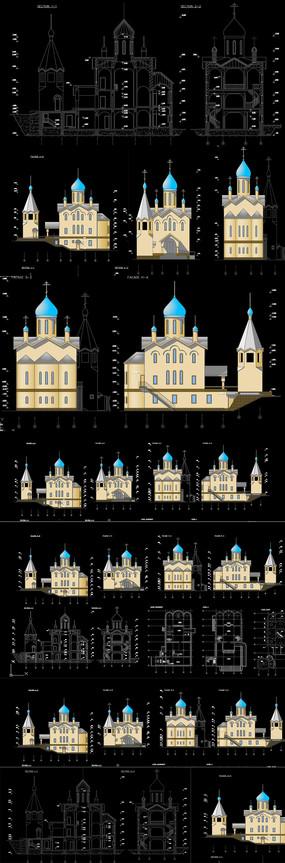 彩色教堂建筑CAD图纸
