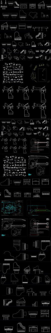 各种乐器CAD图库