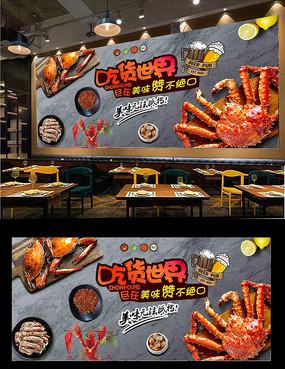 美味香辣蟹餐廳背景墻