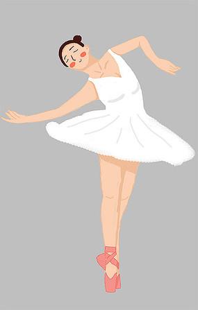 原创跳芭蕾的少女人物插画设计