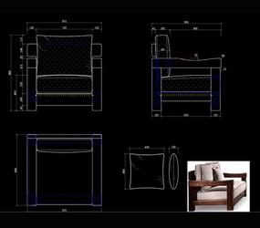 中式单人沙发CAD沙发中式沙发