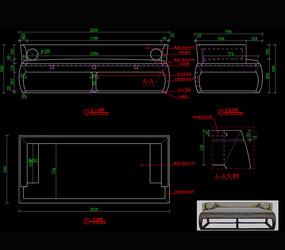 中式沙发罗汉床CAD床CAD图库