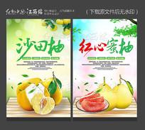 创意沙田柚红心蜜柚宣传海报