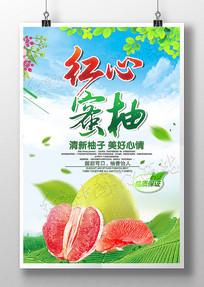 红心蜜柚新鲜水果海报