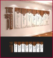 木质中式校园传统美德文化墙