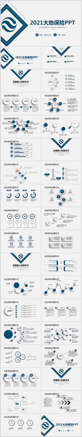 中国大地保险总结报告PPT模板