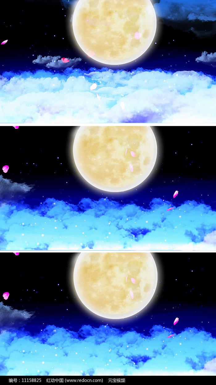 中秋晚会明月花瓣但愿人长久月亮视频素材图片