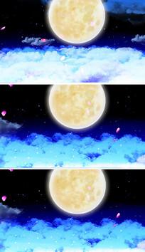 中秋晚会明月花瓣但愿人长久月亮视频素材
