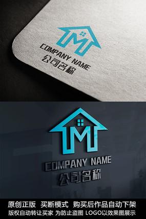 房地产logo标志M字母商标设计