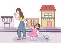 街道上妈妈沉迷玩手机不注意小孩子场景插画