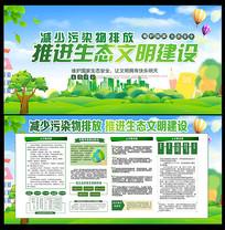 绿色清新减少污染物排放推进文明建设展板