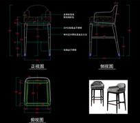 美式家具美式轻奢吧椅CAD椅子CAD图库