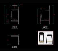 美式家具轻式吧椅CAD椅子CAD图库