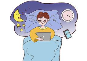 男孩深夜沉迷网络不休息影响健康的场景插画
