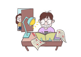男孩学习期间玩手机被妈妈发现的场景插画
