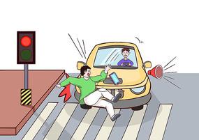 男孩走路沉迷手机闯红灯被撞的场景插画