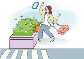 女孩因痴迷玩手机膝盖撞到花圃的场景插画