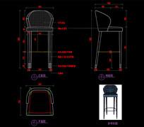 轻奢吧椅CAD图库椅子CAD