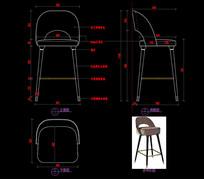 轻奢五金吧椅CAD图库CAD椅子