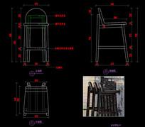 实木CAD吧椅新中式吧椅CAD图库