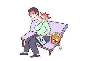 手绘男孩沉溺电子游戏导致颈椎疼痛的场景