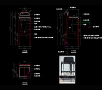 五金吧椅CAD椅子CAD餐椅CAD图库