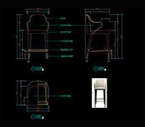 现代轻奢吧椅CAD图库椅子CAD