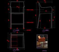现在马鞍皮吧椅不锈钢吧椅CAD椅子