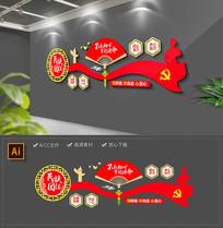 新中式民族团结一家亲社区建设党建文化墙