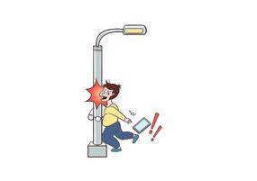 原创手绘男孩沉迷玩手机撞路灯杆摔倒场景