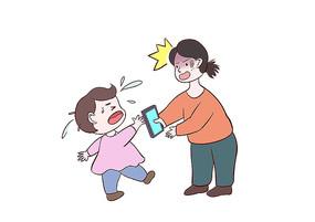原创手绘小女孩沉迷手机游戏和家长哭闹场景