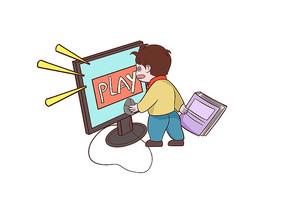 原创手绘小学生沉迷于玩网络游戏的场景插画