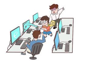 原创手绘小学生网吧玩游戏被家长找到的场景