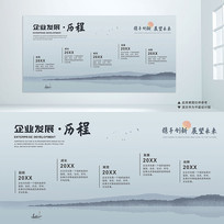 中国风企业公司发展历程文化墙设计