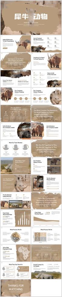 爱护犀牛保护野生动物世界犀牛PPT模板