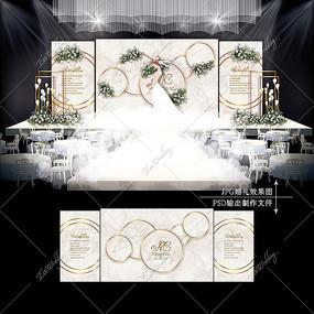 香槟色泰式婚礼效果设计大理石婚庆舞台
