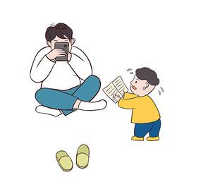 原创手绘卡通爸爸沉迷玩手机不关心孩子学习