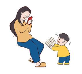 原创手绘卡通妈妈沉迷玩手机不关心孩子学习