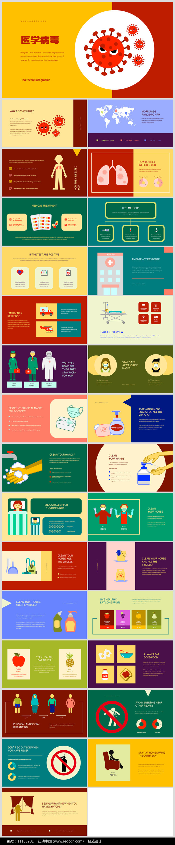 病毒感染预防知识公民健康卫生PPT模板图片