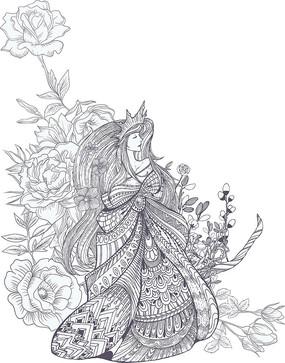 线条花卉美女公主图案印花