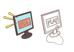 原创手绘打开游戏开始界面的电脑简笔画