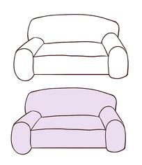 原创手绘卡通紫色沙发家具简笔画