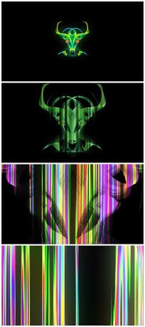 2021创意牛头冲屏logo视频模板